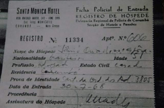 Registro de entrada no hotel, no dia 30 de julho de 1968. (Foto: Marcos Ermínio)