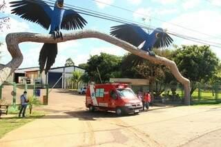Viatura do Corpo de Bombeiros saiu do local com um dos funcionários que passou mal (Foto: Fernando Antunes)