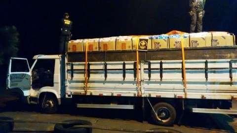 DOF apreende caminhão com 17,5 mil pacotes de cigarro do Paraguai