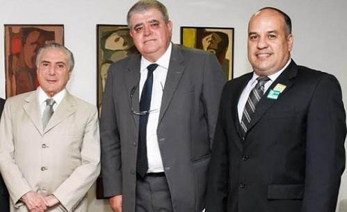 Temer, Marun e Paulo  durante agenda em Brasília.