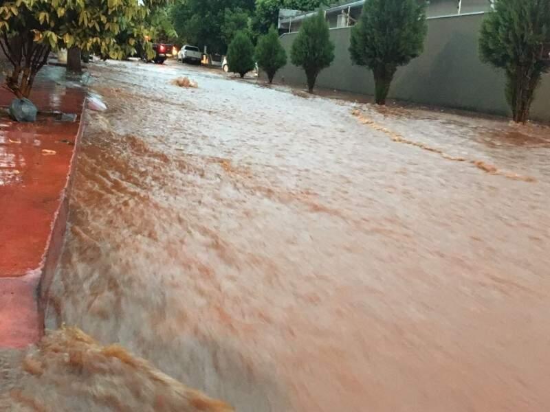 Enxurrada tomou conta das ruas e algumas casas foram invadidas pela água (Fotos: Tudo do MS)