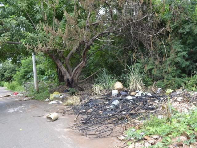 Terreno às margens do córrego Lagoa com lixo causa medo em moradores.