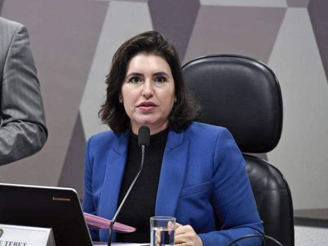 Senadora Simone Tebet (MDB), durante reunião da CCJ no Senado (Foto: Edilson Rodrigues/Agência Senado)
