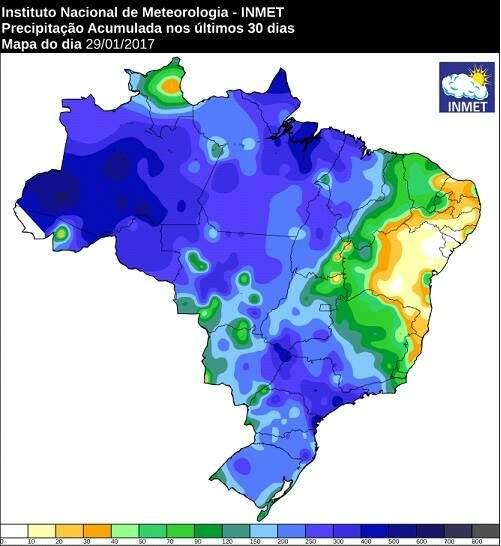 Precipitação acumulada nos últimos 30 dias (Foto: Reprodução/ Inmet)