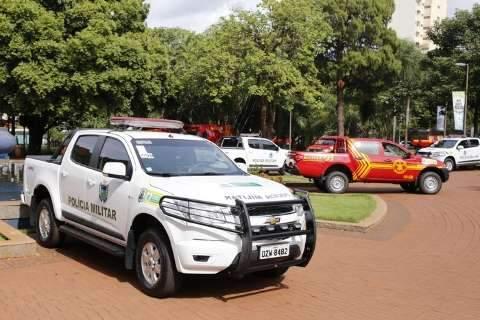 Governo de MS entrega 17 viaturas para unidade da Polícia Militar e Bombeiros