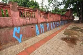 Muro pichado na área central. (Foto: Luciano Muta/ Arquivo)