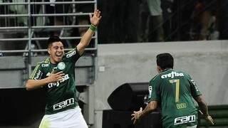 O argentino Cristaldo entrou no segundo tempo e fez o quarto gol do Palmeiras (Foto: G1)