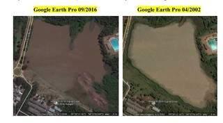 É possível observar a evolução do assoreamento do Lago do Amor por meio do Google Earth.