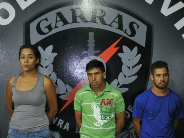 Kátia, Elpídio e Josian, presos apontados como responsáveis pela morte do ex-vereador Alceu Bueno (Foto: Alcides Neto)