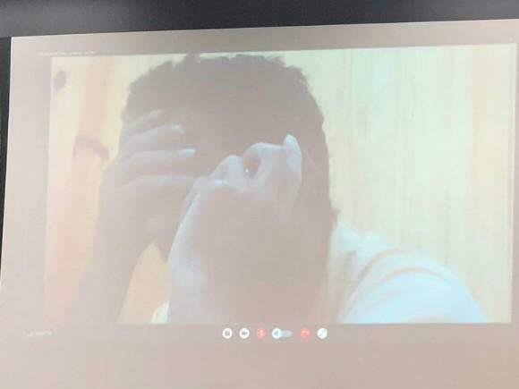 Nando participa de julgamento por videoconferência (Foto: Bruna Pasche)