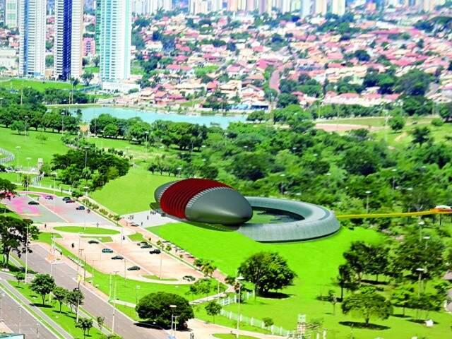 Simulação mostra Aquário do Pantanal pronto na avenida Afonso Pena.