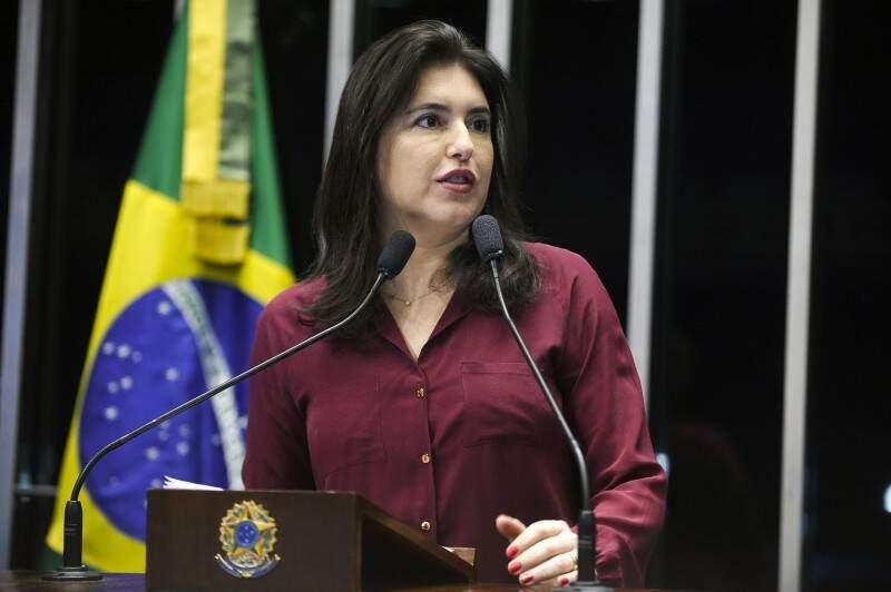 Senadora Simone Tebet (PMDB-MS) em discurso no plenário. (Foto: Marcos Oliveira/Agência Senado)