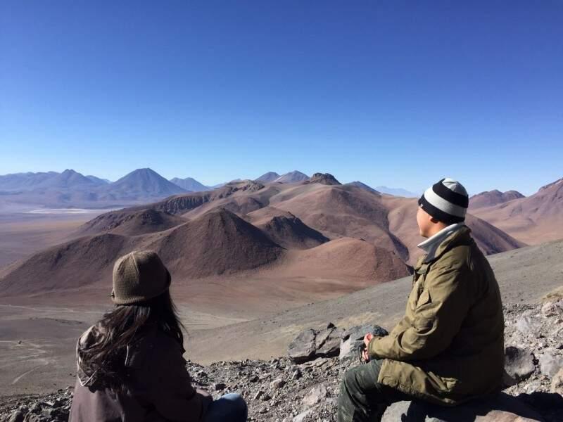 Um dos pontos de parada no vulcão.