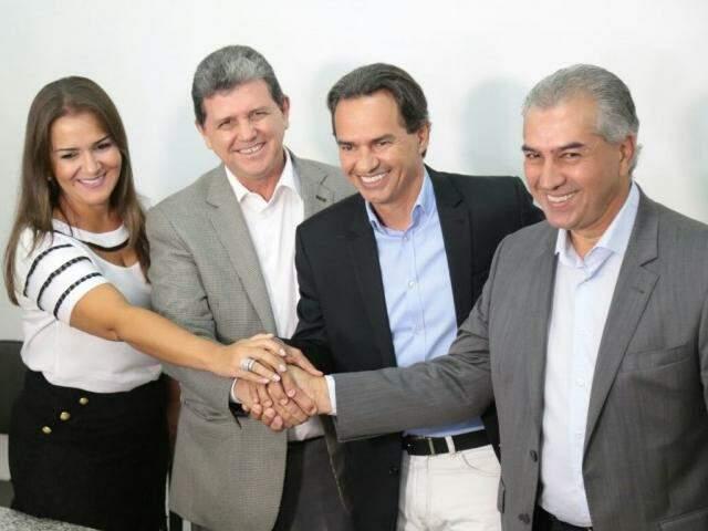 Vice-prefeita, Adriane Lopes, vereador João Rocha, Marquinhos e Reinaldo no encontro desta manhã (Foto: Fernando Antunes)