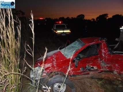 Acidente envolvendo carro e ônibus mata três pessoas na rodovia MS-134