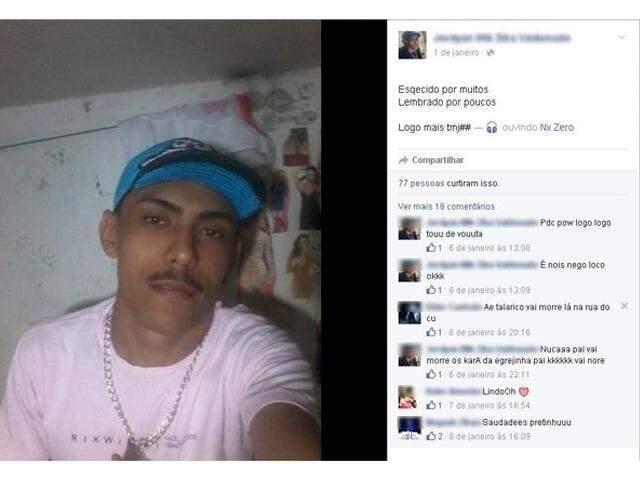 Selfie postado por preso de dentro de presídio em Corumbá, em janeiro de 2016. (Foto: Reprodução/ Facebook)