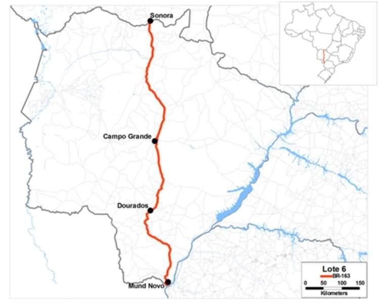 Mapa mostra trecho que será repassado à iniciativa privada em MS. (Imagem: ANTT)