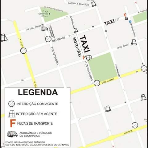 No mapa, os pontos de interdição entre os dias 16 e 21 de fevereiro. (Foto: Divulgação)