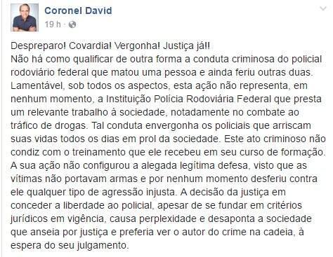 Post que o coronel David postou em sua página no Facebook