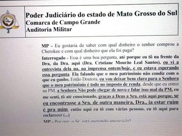 Trecho de documento relatando ameaça feita por policial a promotora. (Imagem: Reprodução)
