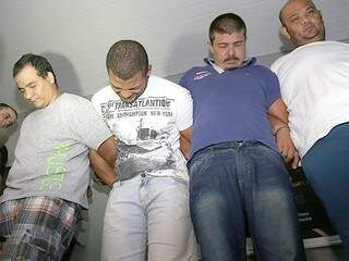 Da esquerda para a direita, Wellington Xavier, Wemerson Alves, José Ronaldo dos Santos e Márcio Rodrigues foram presos pelo Garras durante a investigação. (Foto: Fernando Antunes)