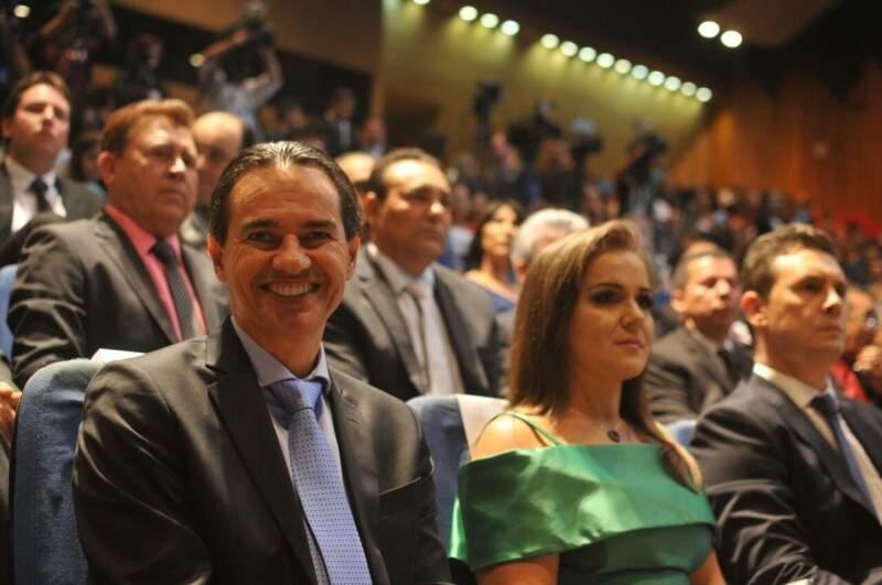 Marquinhos Trad, ao lado da sua vice, Adriane Lopes, durante sua diplomação (Foto: Alcides Neto)