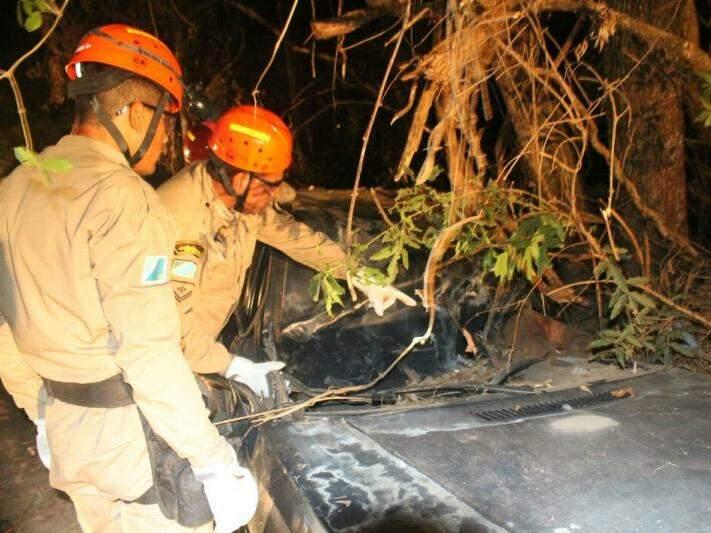 Quando bombeiros chegaram ao local do acidente, vítimas já estavam mortas. (Foto: Divulgação/ Corpo de Bombeiros)