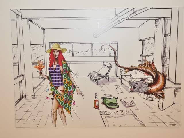 """Da séria """"Os fantasmas que habitam as casas modernistas. Desenho digitalizado impresso em vinil sobre PVC. (Foto: João Garrigó)"""