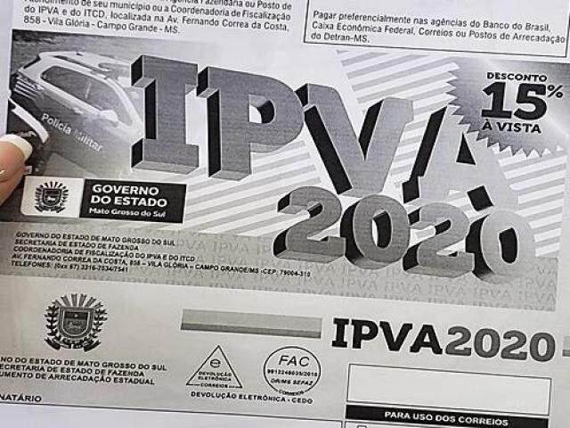 IPVA 2020 tem mais quatro parcelas até o mês de maio.