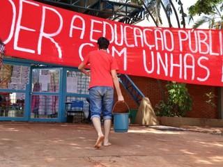 Bloco 6 ocupado pelos alunos durante o mês de setembro em reação ao program Future-se do governo federal (Foto: Arquivo/Henrique Kawaminami)
