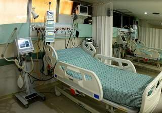 Leito de UTI no Hospital Regional Rosa Pedrossian, referência para tratamento de Covid-19 (Foto: Chico Ribeiro)