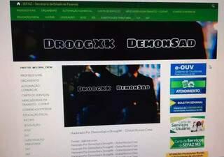 Postagem feita por hacker no site da Sefaz (Secretaria de Estado de Fazenda) (Foto: Direto das Ruas)