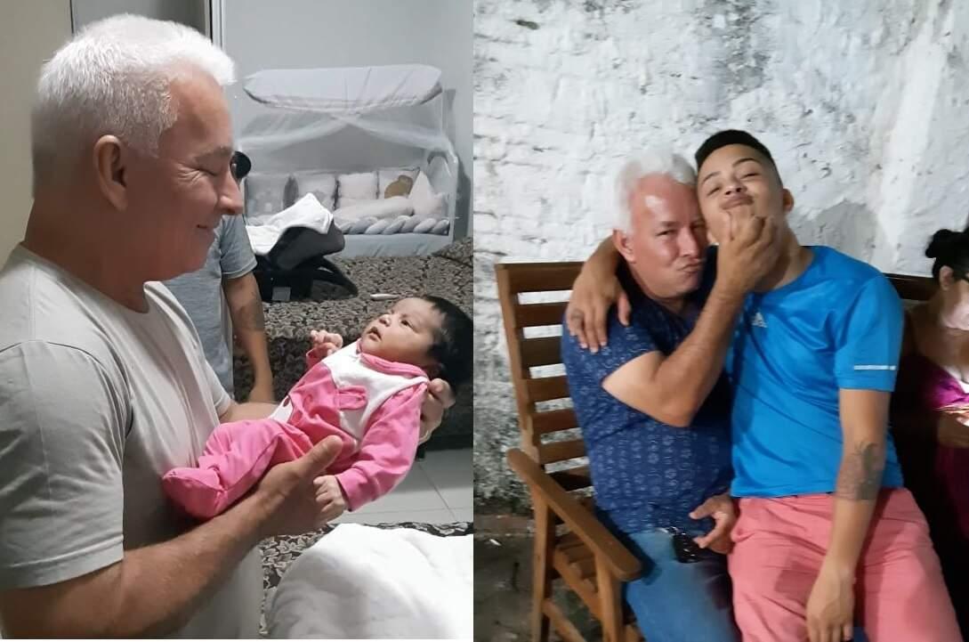 Com a bisneta Megan e o neto, Higor. (Fotos: Arquivo Familiar)