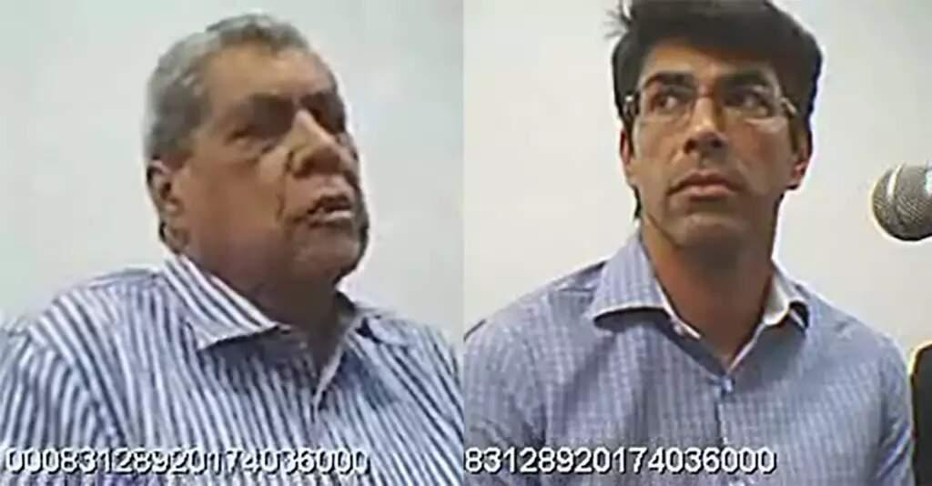 Puccinelli, à esqueda, e o filho, André Puccinelli Junior, que chegaram a ser presos pela Operação Lama Asfáltica, durante audiência na Justiça Federal. (Foto: Arquivo/Campo Grande News)