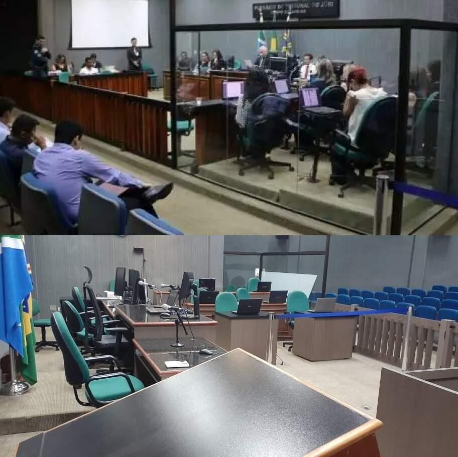 Veja como era e como será plenário do Tribunal do Júri a partir de hoje (Foto: Arquivo Campo Grande News e Direto das Ruas)
