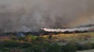 Avião lança água na tentativa de combater o fogo, que já consumiu milhões de hectares do Pantanal. (Foto: Divulgação Governo do Estado/Marcos Antônio dos Reis)