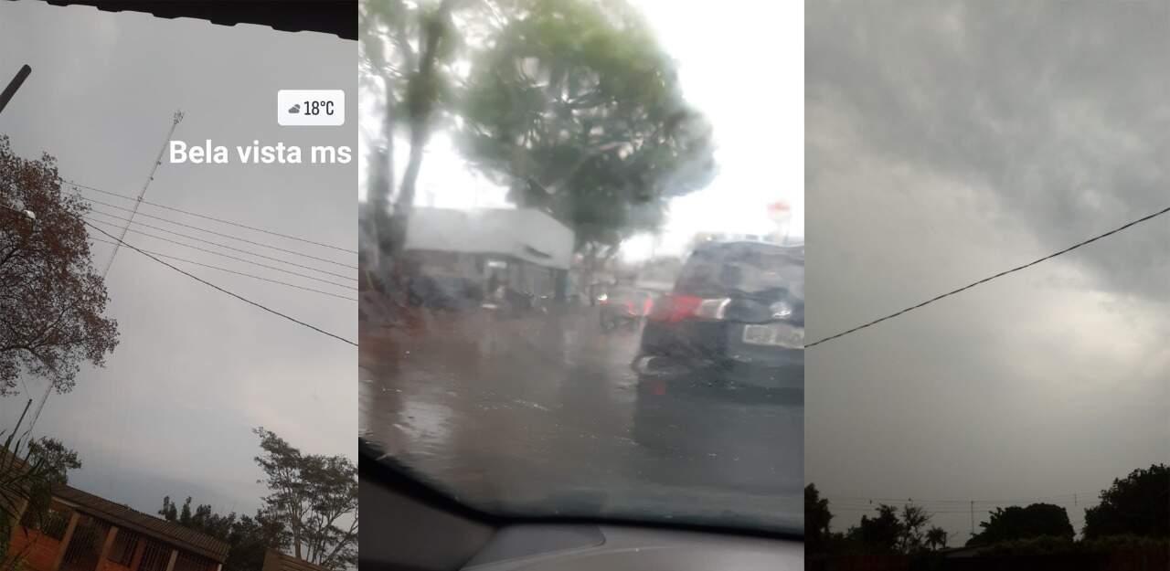 Moradores da Bela Vista, Dourados e Fátima do Sul fizeram registros do tempo nesta manhã (Foto: Direto das Ruas)