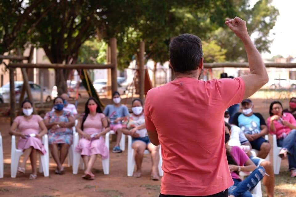 Pedro Kemp (PT) lançou sua campanha na Praça Cuiabá, em Campo Grande (Foto: Reprodução - Facebook)