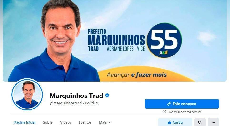 Prefeito Marquinhos Trad (PSD) com número e santinho nas redes sociais (Foto: Reprodução - Facebook)