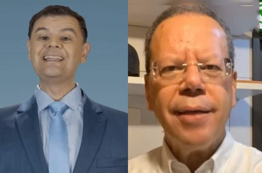 Vinícius Siqueira (PSL) e Marcelo Bluma (PV) em vídeos publicados nas redes sociais com conteúdo irregular, segundo a justiça eleitoral (Foto: Vídeos/Reprodução)