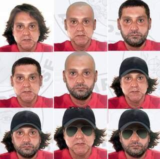 Polícia fez simulação de possíveis disfarces usados por Paulo Cupertino para fugir após matar ator e os pais dele (Foto: Polícia Civil de SP/Divulgação)