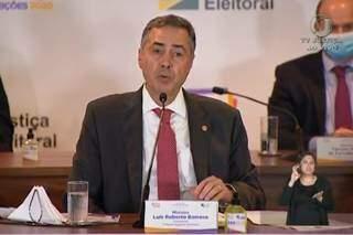 Ministro Luís Carlos Barroso, presidente do TSE, em coletiva (Foto/Reprodução)