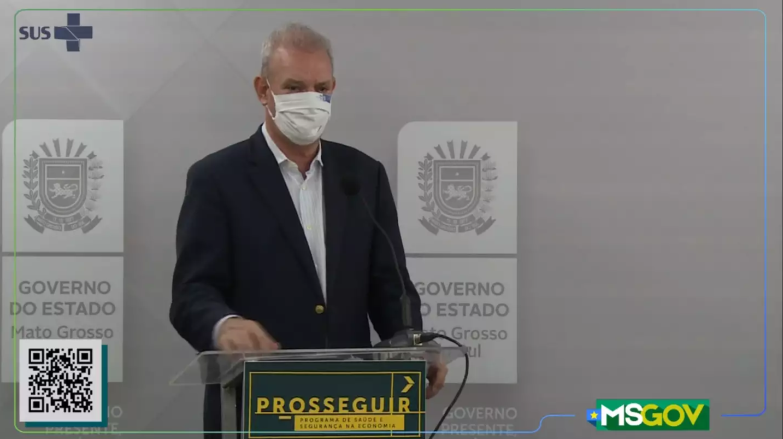 Secretário estadual de Saúde, Geraldo Resende, durante transmissão nesta manhã (Foto: Reprodução/SES)