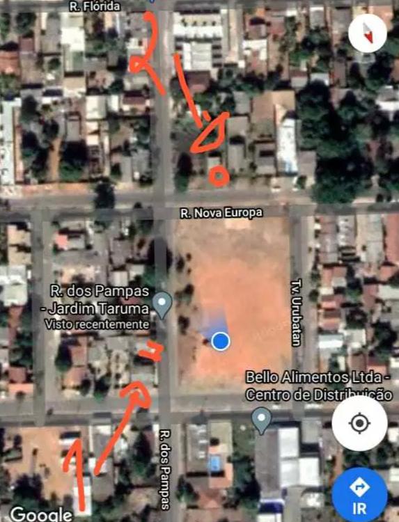 No mapa, o ponto 1 é a casa do filho de Clarice, onde corpo ficou até ser jogado no ponto 2, durante a madrugada. (Foto: Reprodução do Google Maps)