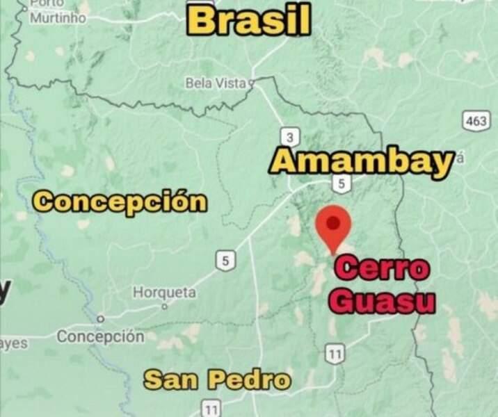 Ponto em vermelho marca local do confronto desta quinta (Arte: ABC Color)