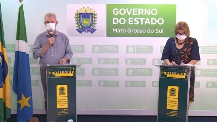 Geraldo Resende e Christine Maymone em live do governo (Foto/Reprodução)