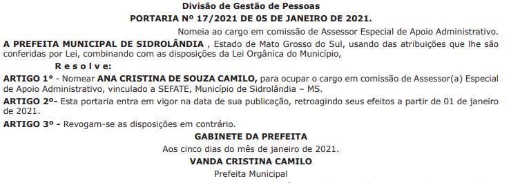 Nomeações foram publicadas no Diário Oficial de quinta-feira, dia 7 de janeiro. (Foto: Reprodução)