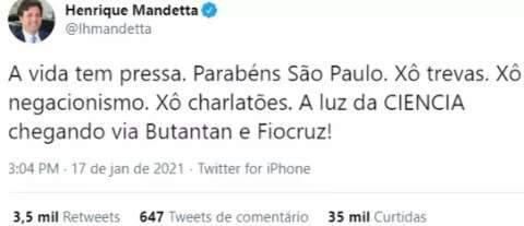 """Domingo de aprovação de vacina tem """"tabelinha"""" Mandetta/Doria"""