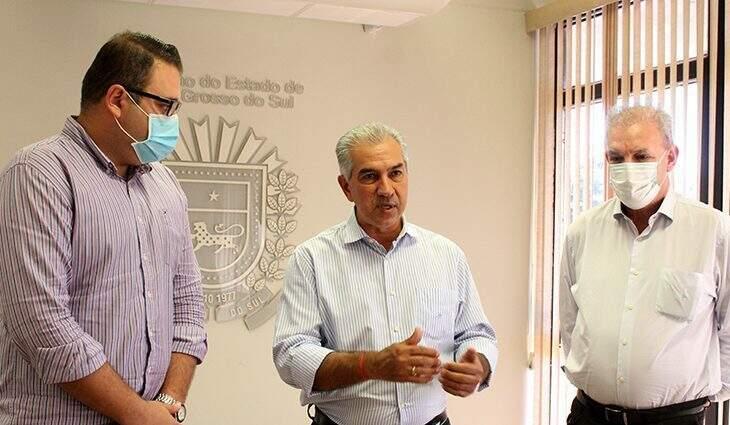 Alan Guedes, Reinaldo Azambuja e Geraldo Resende durante audiência nesta tarde. (Foto: Divulgação)