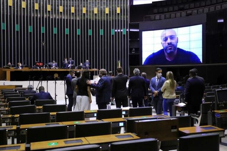 Daniel Silveira participou da sessão por meio de videoconferência. (Foto: Michel Jesus/Câmara dos Deputados)